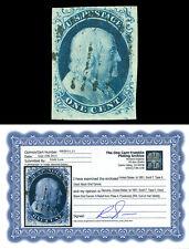 """Scott 7 1851 1c Franklin Used VF """"Curl in Hair"""" Cat $1,100 w/ CERTIFICATE! RARE!"""