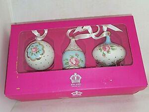 ROYAL ALBERT Boxed Polka Dot Blue Set of 3x. Christmas Tree Decorations MIB