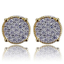 Earring Stud Round Hip Hop Well Made 2x Mens Gold Plated Two Tone Cz Micropave