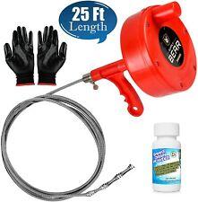 Drain Snake Clog Remover 25 Ft Amp Plumbing Auger For Hair Removal Bonus Solution