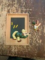 Vintage 1950's Ceramic On Wood Duck Hunter Picture Frame