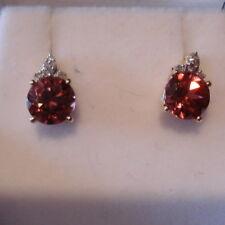 2.52ct Certified Pink Zircon & Diamond Gold Drop Earrings