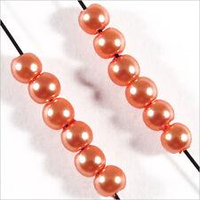200 perles Nacrées 3mm Orange en verre de Bohème
