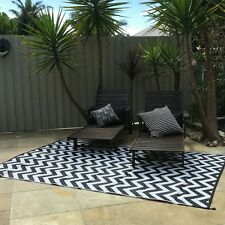 3 x RUGS SPARTA BLACK 180x270cm Outdoor/ Plastic Rug/Mat BLACK WHITE Waterproof
