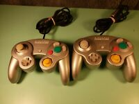 Lot Of 2 Nintendo Gamecube Controllers OEM Silver Nice Tested Works Great