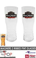 MAGNERS IRISH CIDER ORIGINAL 2 RIBBED PINT GLASSES  BNWOB  MAN CAVE