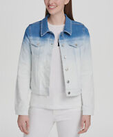 $277 DKNY Women's Blue Gradient Long Sleeve Button Classic Denim Jacket Size L