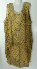 Ashley Stewart Top Blouse 1X 18 20 2X 22 24 Yellow New Sleeveless Plus Size Top