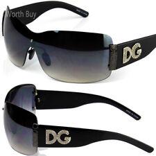DG Rimless Womens Designer Sunglasses Shades Large Oversized Fashion Shield Wrap