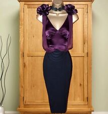 KAREN MILLEN Black Aubergine Corsage Wiggle Dress UK-10 Cocktail Races Occasion