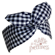 Rockabilly 40s 50s Navy Gingham Retro Vintage Pin-up Wire headscarf headband