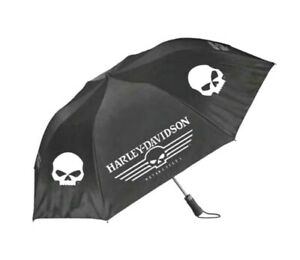 "Harley-Davidson® Willie-G Skull Retractable 44"" Umbrella Black & White UMB119988"