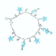 Anne Koplik Seahorse & Starfish Charm Bracelet Hand-Enameled *Made in USA*
