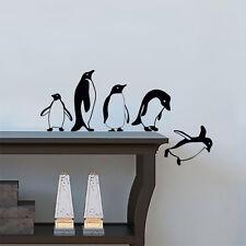 Pingüinos saltando volando Divertido Vinilo Pared Adhesivo Calcomanía Mural Decoración Cocina Mascotas
