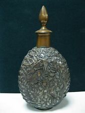 Antique Glass Decanter Brass Dragons and floral motifs Liquor old Chinese China