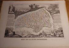Département de la SEINE INFERIEURE CARTE GEOGRAPHIQUE LEVASSEUR 1859 / ROUEN