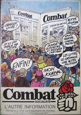 Affiche COMBAT SOCIALISTE journal parti socialiste PS 1981 politique journaux