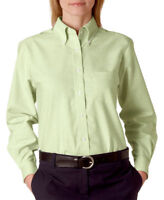 UltraClub Women's Classic Wrinkle-Free Long-Sleeve Solid Oxford Dress Shirt 8990