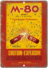 """M-80 Brand Firecrackers Package Art 10"""" X 7"""" Reproduction Metal Sign ZD36"""