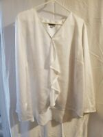 Tahari Womens Plus Size 2X White Blouse Ruffle Front Long Sleeve Sheer Tunic Top