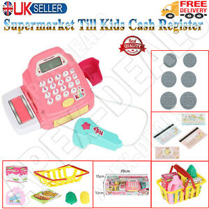 Kids Supermarket Shop Role Play Cash Register Toy Play Food & Toys Trolley Set