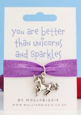 Ladies Girls Stretch Bracelet Fabric Charm Friendship Silver Unicorn Gift