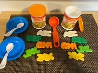 Fisher Price food 2 Alphabet soups and containers ladle 2 bowls 2 spoons 1987