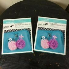 Yoobi 2 Pack Diy PomPom Keychain Kit Flamingo Unicorn - Lot of 2