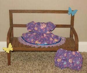 "Handmade Doll Clothes for 12"" - 14"" Baby Dolls - ""Pretty Girl"" Purple Dress Set"