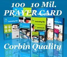 Ultra Clear Laminating Laminator Pouches Prayer Card 100 10 Mil 2-3/4 x 4-1/2 CQ