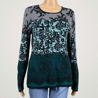 Antonio Melani Multicolor Printed Light Sweater Shirt MEDIUM Black Green Blue