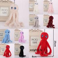 Charm Key Ring Octopus Fur PomPom Bag Phone Car Keychain Handbag Cute Decor Gift