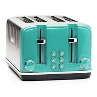 Haden Salcombe 4 Slice Toaster Wide-Slot High-Lift - Stainless Steel & Deep Teal