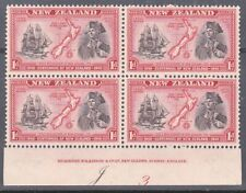 NEW ZEALAND 1940 Centenary 1d Captain Cook plate block MNH CP cat NZ$40.....K497