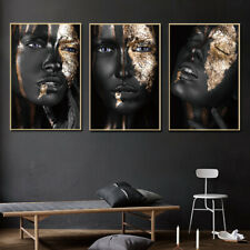 Canvas Print Painting Black Gold African Woman Wall Art Pictures Poster Decor