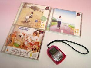 Used Pocket Station Crystal + clear pink cover + Dokodemo issho 3games SET Japan