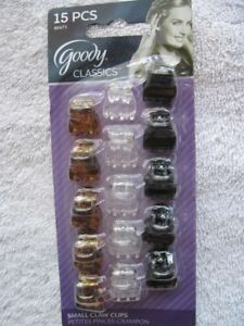 """15 Goody Small Claw Clips Mini 1/2"""" Hair Jaw Plastic Black Clear Tortoise Brown"""