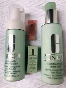 NEW RRP$89 CLINIQUE 3PK Extra Mild Liquid Soap & Cleansing Foam + eye gel