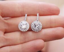 Sterling Silver Pin Halo Cluster Paved Cubic Zirconia Teardrop Stud Earrings