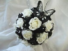 STUNNING BLACK & IVORY HANDTIED BRIDAL / WEDDING BOUQUET WITH BUTTERFLY