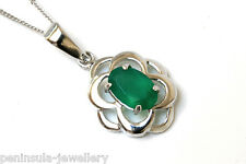 "9ct White Gold Green Agate Pendant and 18"" Chain Gift Boxed Necklace Made in UK"