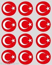 12 bandera turca Cupcake Toppers Precortada 40mm, Torta, Decoraciones Turquía Banderas
