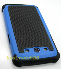 for Samsung galaxy s3 triple layer hybrid case cover blue black triple layer