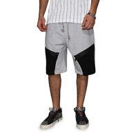 Pantaloni Tuta Corti Sportivo Laccetti Nero Grigio Cotone Casual Street Style