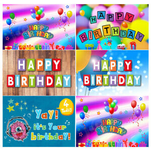 Happy Birthday Background Children Photography Photo Backdrop Vinyl Art Prop