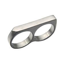 Minimalist Bar Two Finger Biker Jewelry Silver Steel Yakuza Style Men Ring Sz 10