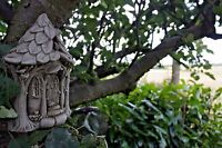 NEW STONE FAIRY TREE HOUSE,TREE HANGING PLAQUE,FAIRY HOUSE WITH PETS,GARDEN ORNA