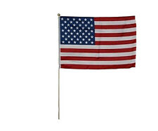 "12x18 12""x18"" Usa American Us United States Ball Top Stick Flag wood Staff"