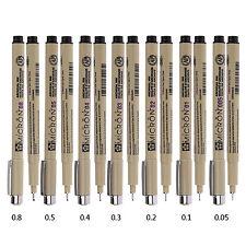 7pcs Sakura Pigma Micron Fine Line Pen Black 005 01 02 03 04 05 08 Art Supplies