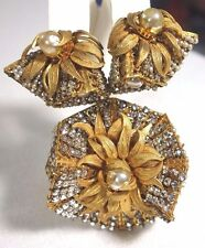 Vtg. Miriam Haskell Brooch Earrings Set~Clear RS/Crystals/Pearl filagree